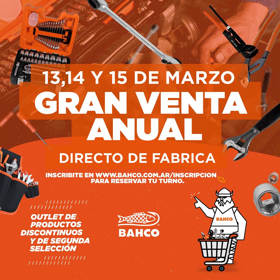 Nueva edición de la Gran Venta Anual Outlet Directo de Fabrica BAHCO